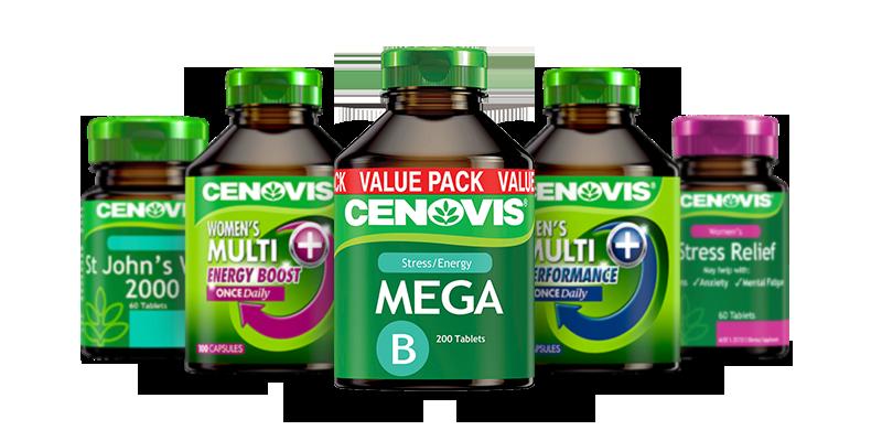 Cenovis Energy & Stress range of products group packshot