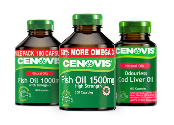 Cenovis fish oil products group packshot